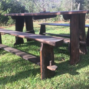 rustic outdoor picnic table and bench set